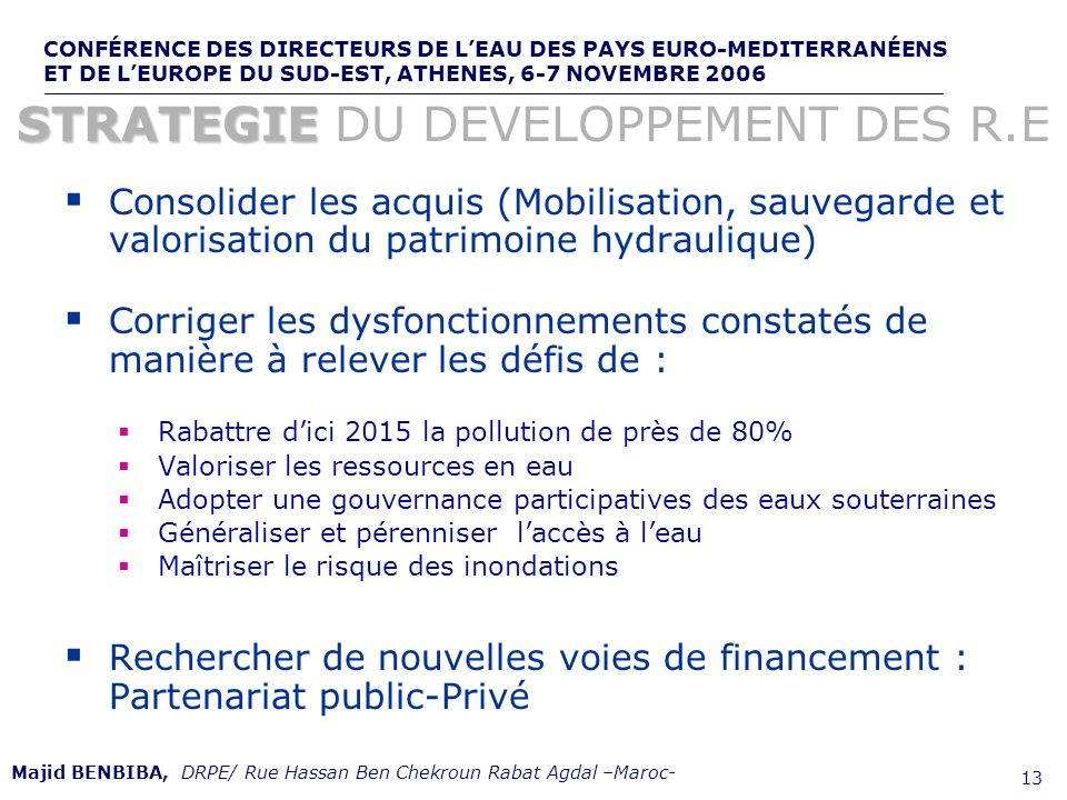 STRATEGIE DU DEVELOPPEMENT DES R.E