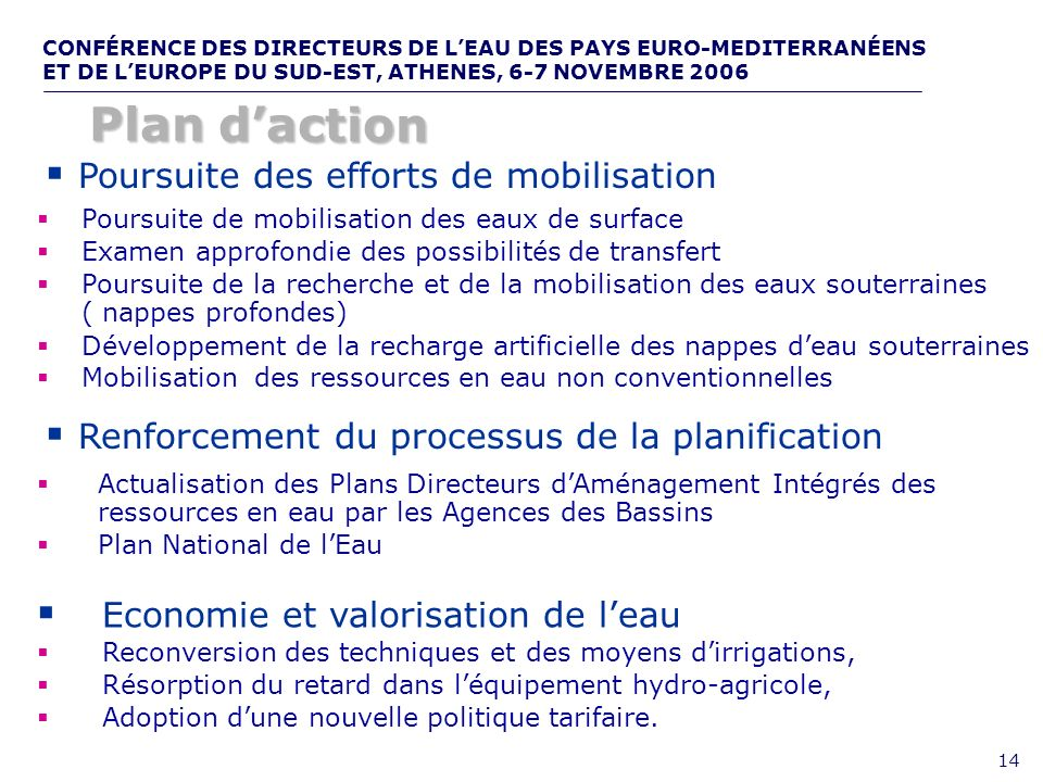 Plan d'action Poursuite des efforts de mobilisation