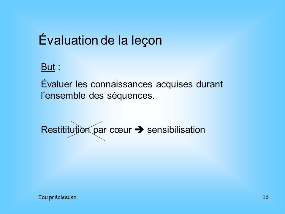 Évaluation de la leçon But :