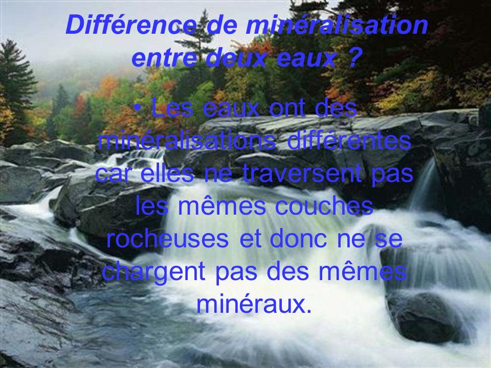Différence de minéralisation entre deux eaux
