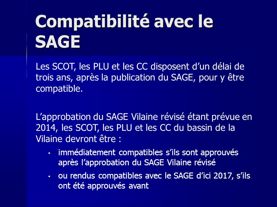 Compatibilité avec le SAGE