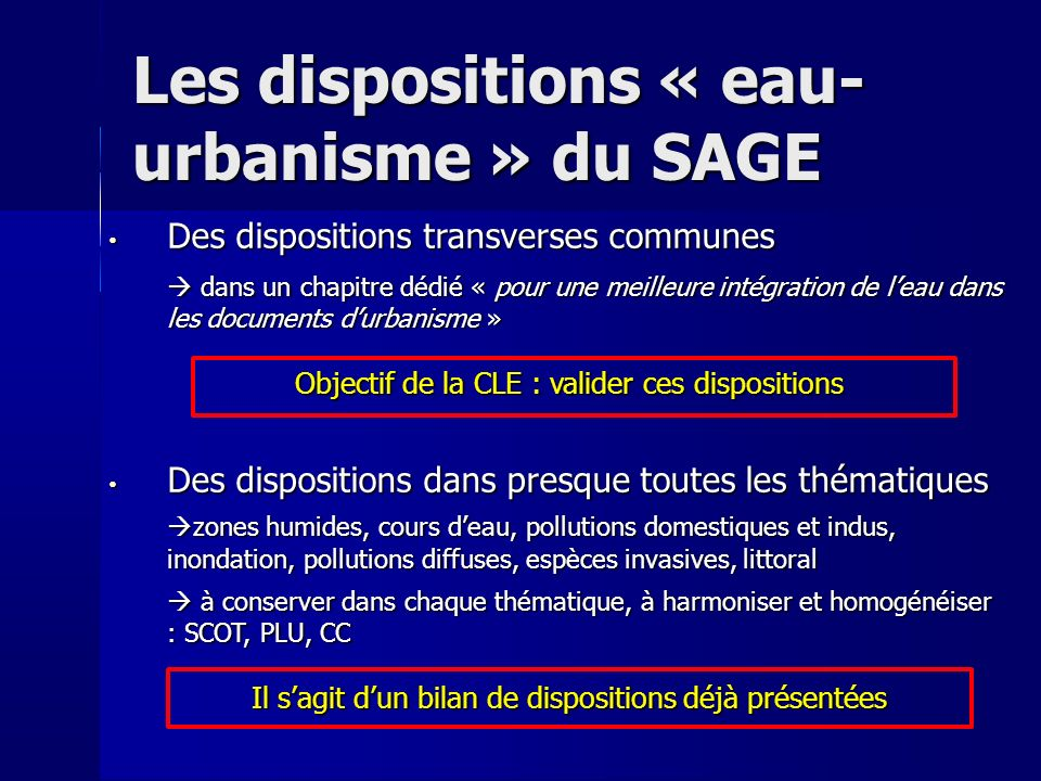 Les dispositions « eau-urbanisme » du SAGE
