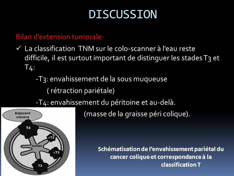 DISCUSSION Bilan d'extension tumorale: