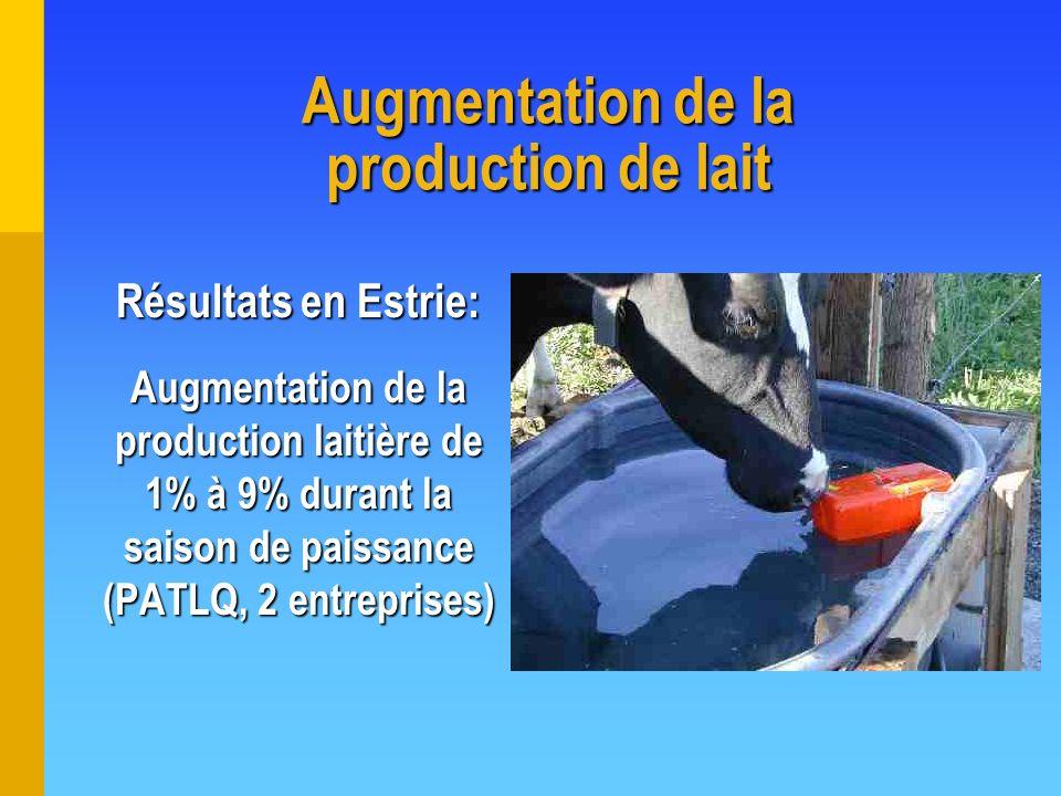 Augmentation de la production de lait