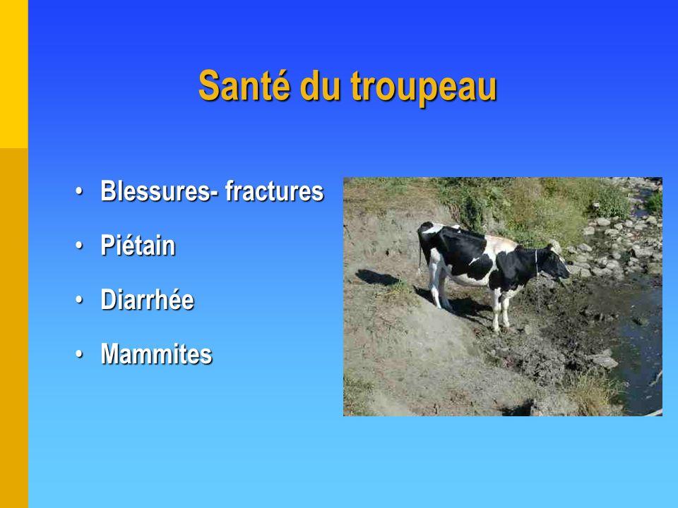 Santé du troupeau Blessures- fractures Piétain Diarrhée Mammites