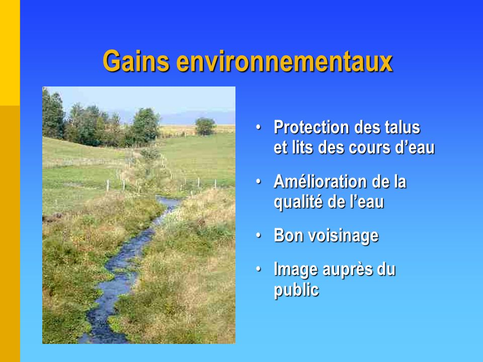 Gains environnementaux