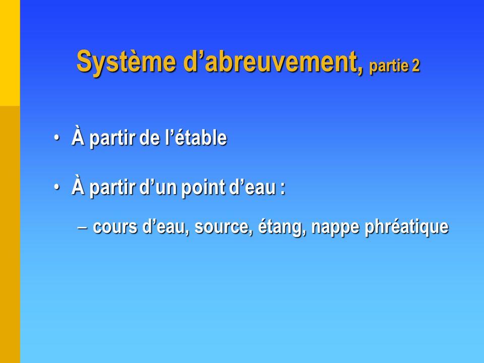 Système d'abreuvement, partie 2