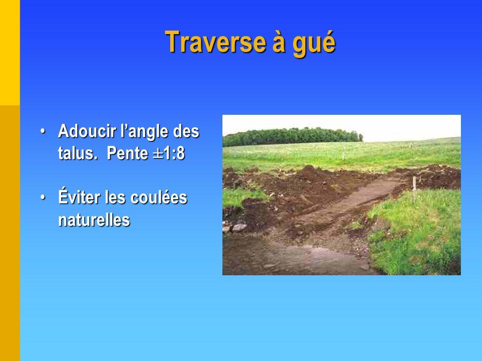 Traverse à gué Adoucir l'angle des talus. Pente ±1:8