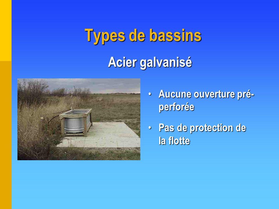 Types de bassins Acier galvanisé Aucune ouverture pré- perforée