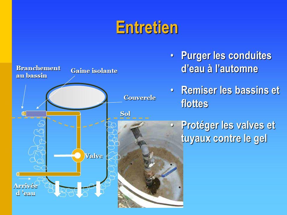 Entretien Purger les conduites d'eau à l'automne