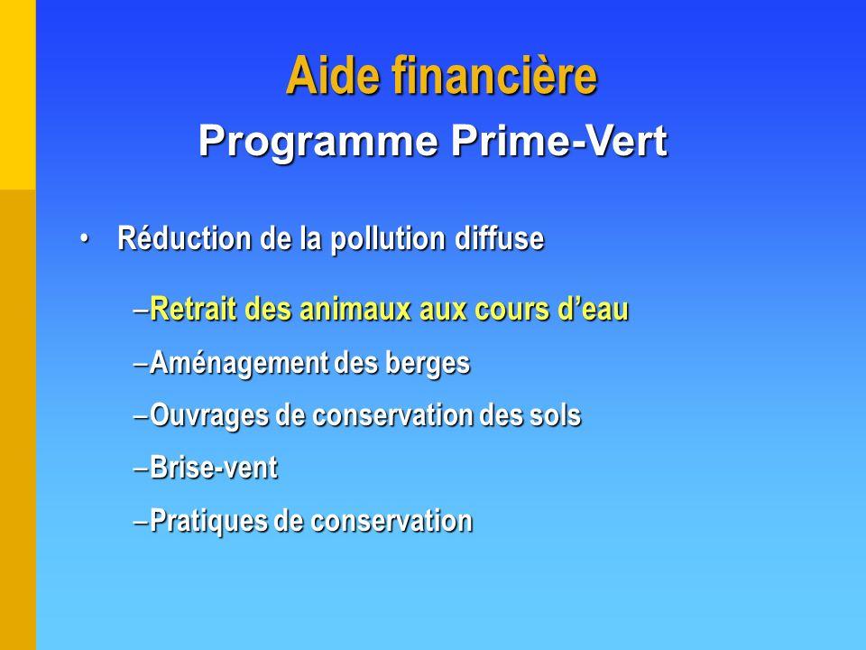 Aide financière Programme Prime-Vert Réduction de la pollution diffuse