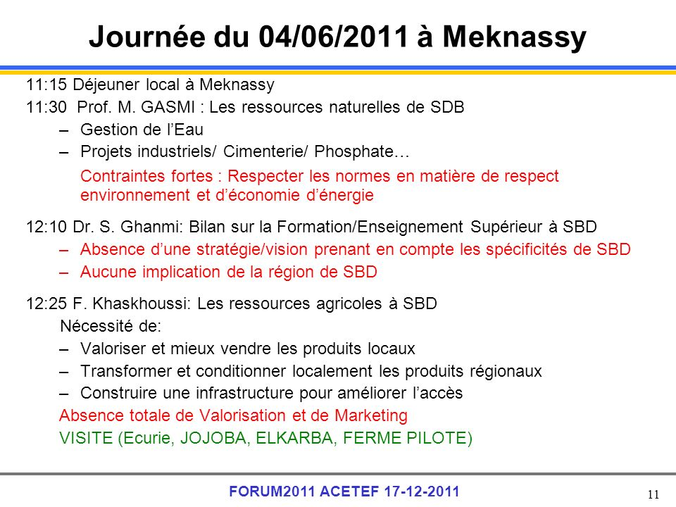 Journée du 04/06/2011 à Meknassy