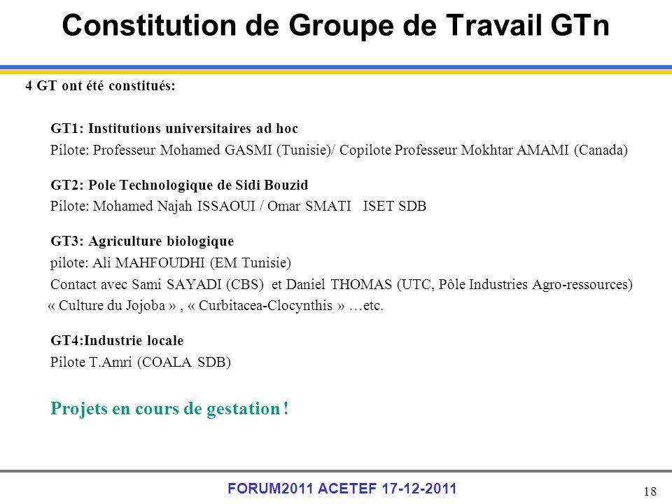 Constitution de Groupe de Travail GTn