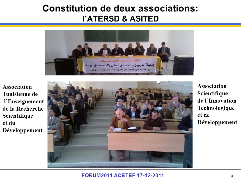 Constitution de deux associations: l'ATERSD & ASITED