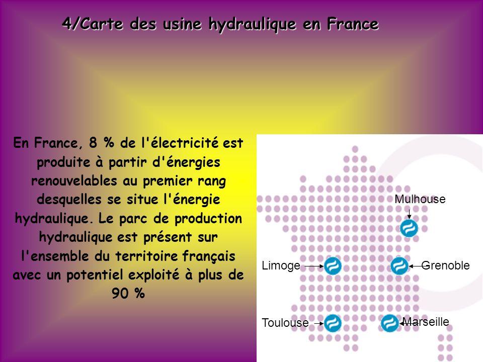 4/Carte des usine hydraulique en France