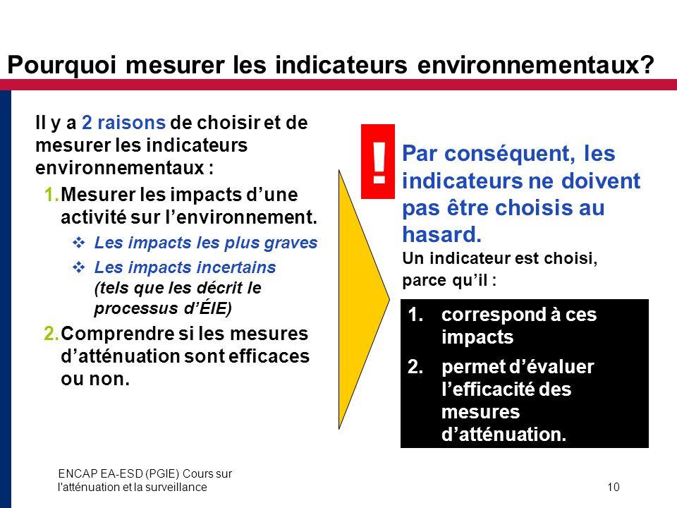 Pourquoi mesurer les indicateurs environnementaux