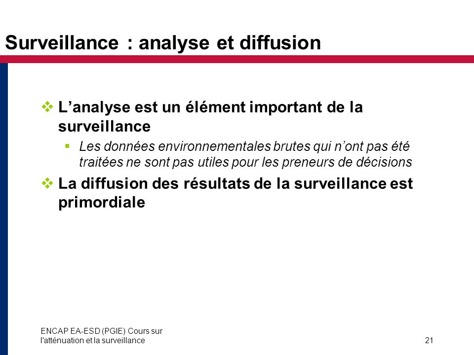 Surveillance : analyse et diffusion