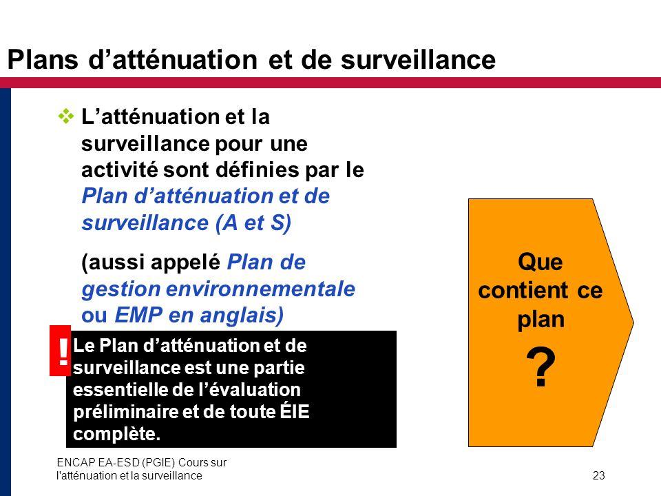 Plans d'atténuation et de surveillance