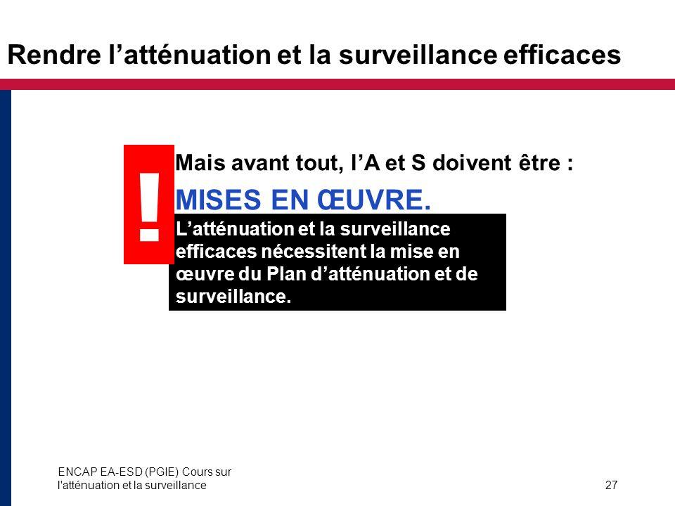 Rendre l'atténuation et la surveillance efficaces