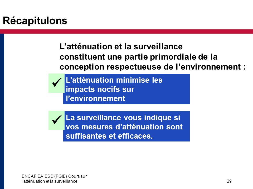 Récapitulons L'atténuation et la surveillance constituent une partie primordiale de la conception respectueuse de l'environnement :