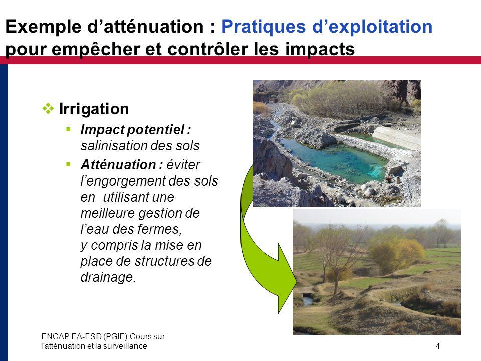 Exemple d'atténuation : Pratiques d'exploitation pour empêcher et contrôler les impacts