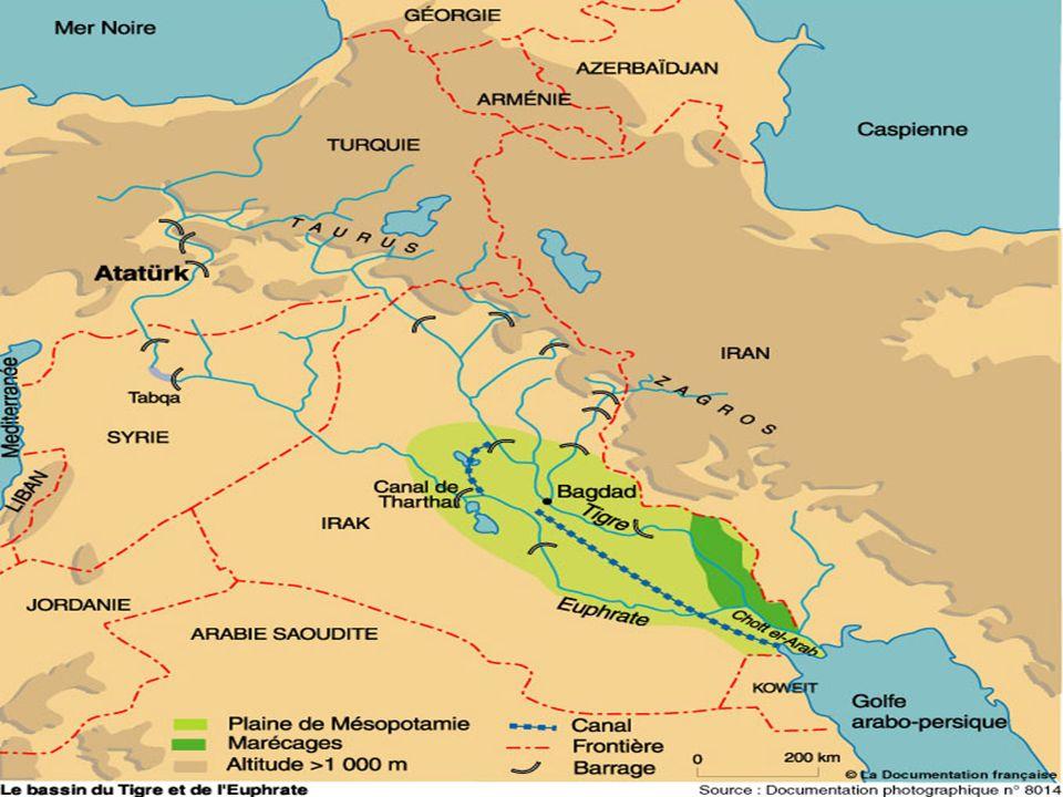 Les aménagements et les débits mensuels à différents points de mesure du Tigre et de l'Euphrate.