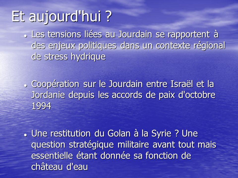 Et aujourd hui Les tensions liées au Jourdain se rapportent à des enjeux politiques dans un contexte régional de stress hydrique.