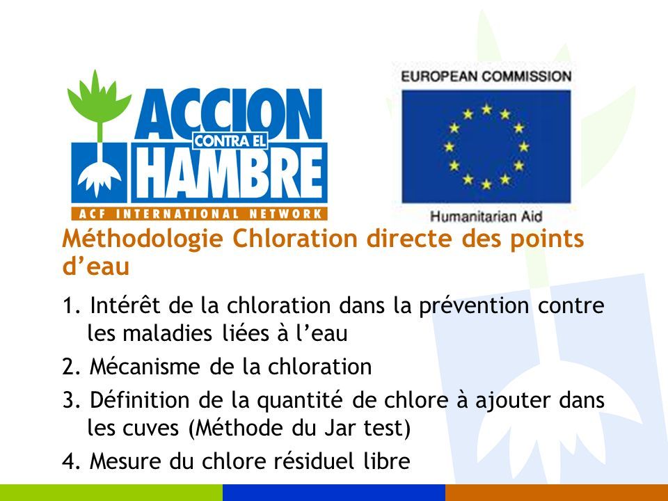 Méthodologie Chloration directe des points d'eau