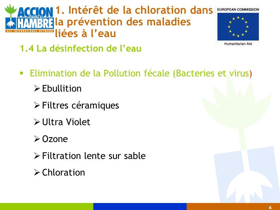 1. Intérêt de la chloration dans la prévention des maladies liées à l'eau