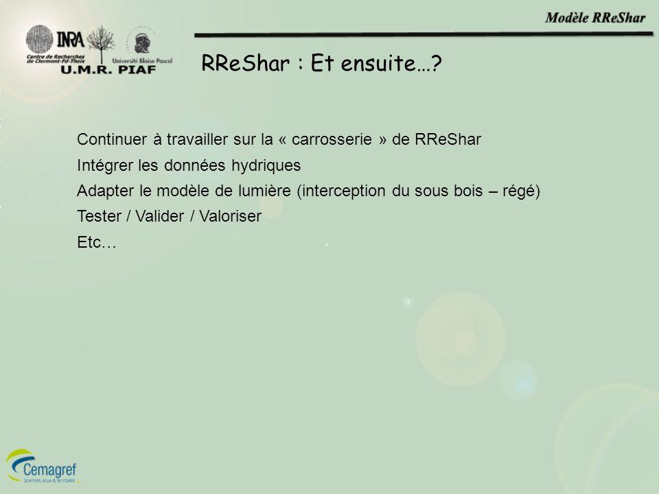 RReShar : Et ensuite… Continuer à travailler sur la « carrosserie » de RReShar. Intégrer les données hydriques.