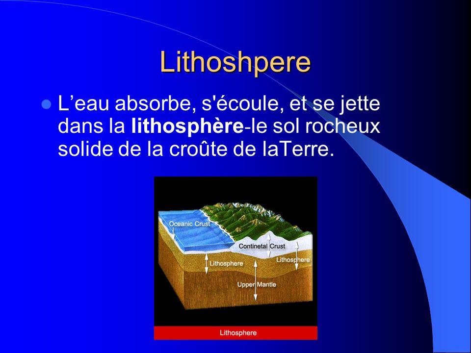Lithoshpere L'eau absorbe, s écoule, et se jette dans la lithosphère-le sol rocheux solide de la croûte de laTerre.