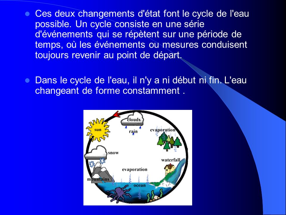 Ces deux changements d état font le cycle de l eau possible