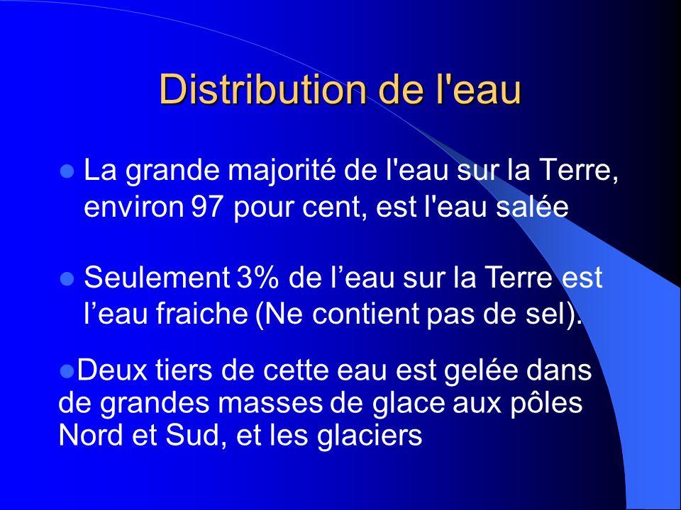 Distribution de l eau La grande majorité de l eau sur la Terre, environ 97 pour cent, est l eau salée.