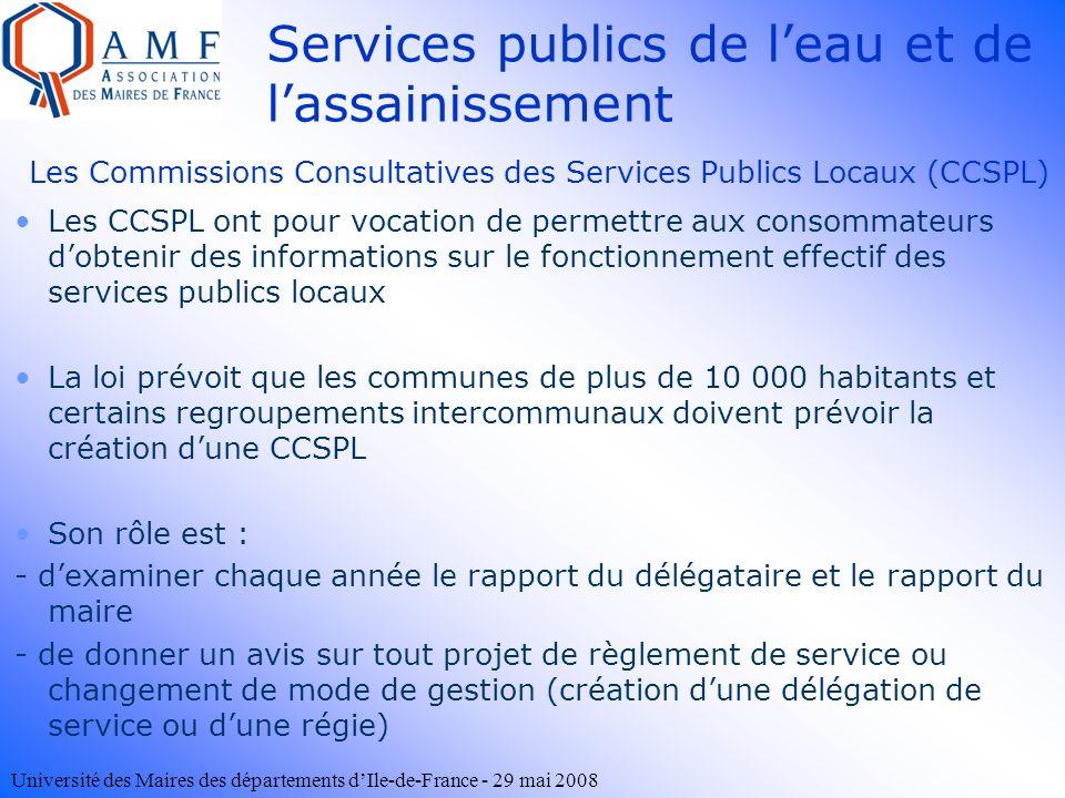 Les Commissions Consultatives des Services Publics Locaux (CCSPL)