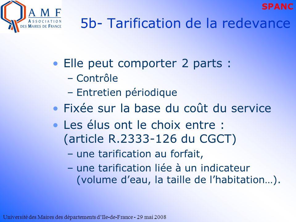 5b- Tarification de la redevance