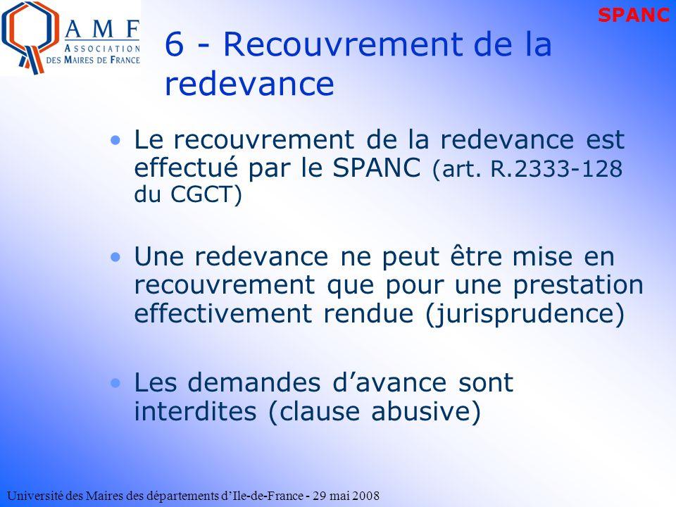 6 - Recouvrement de la redevance