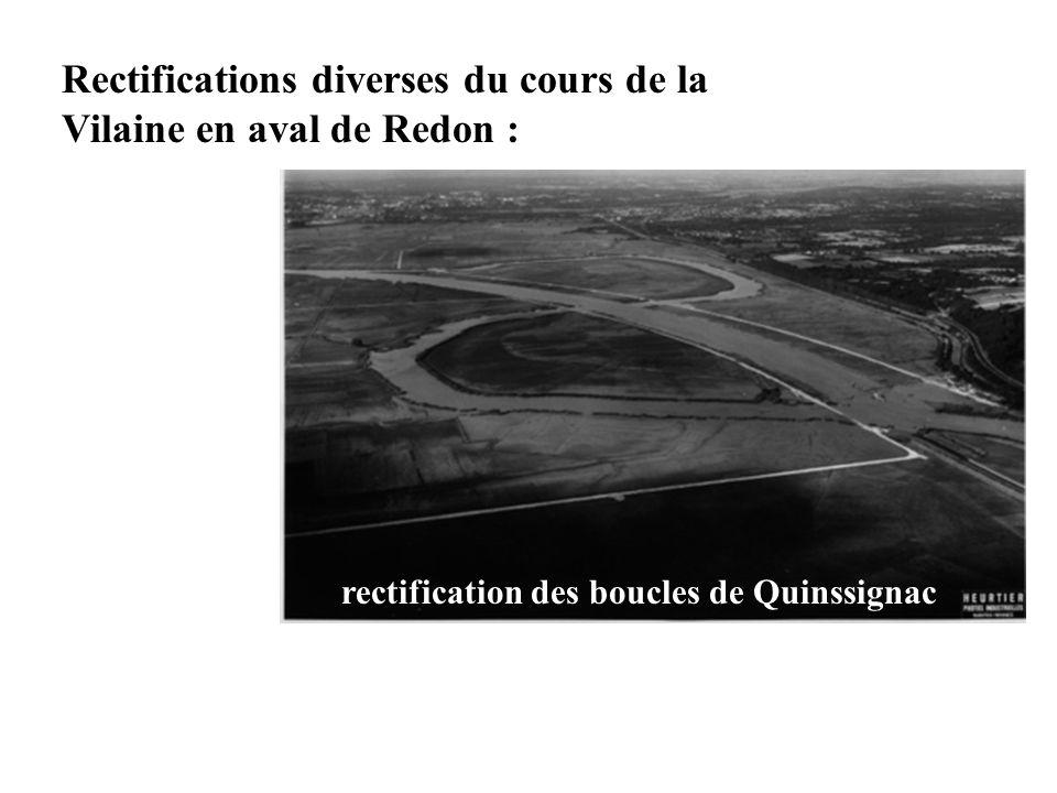 Rectifications diverses du cours de la Vilaine en aval de Redon :