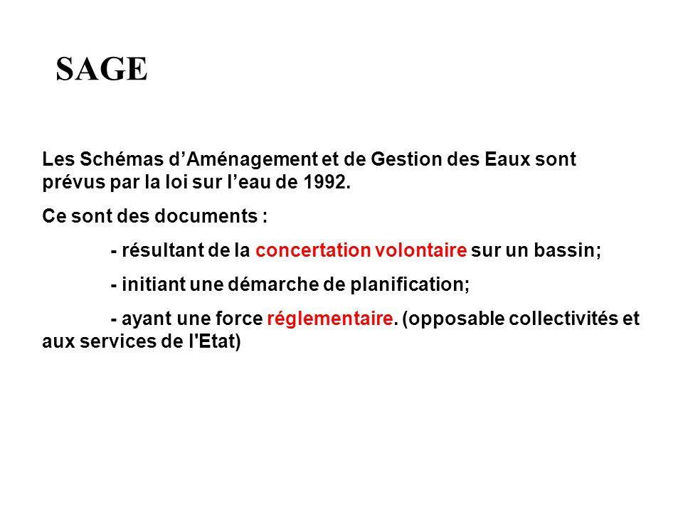 SAGE Les Schémas d'Aménagement et de Gestion des Eaux sont prévus par la loi sur l'eau de 1992. Ce sont des documents :