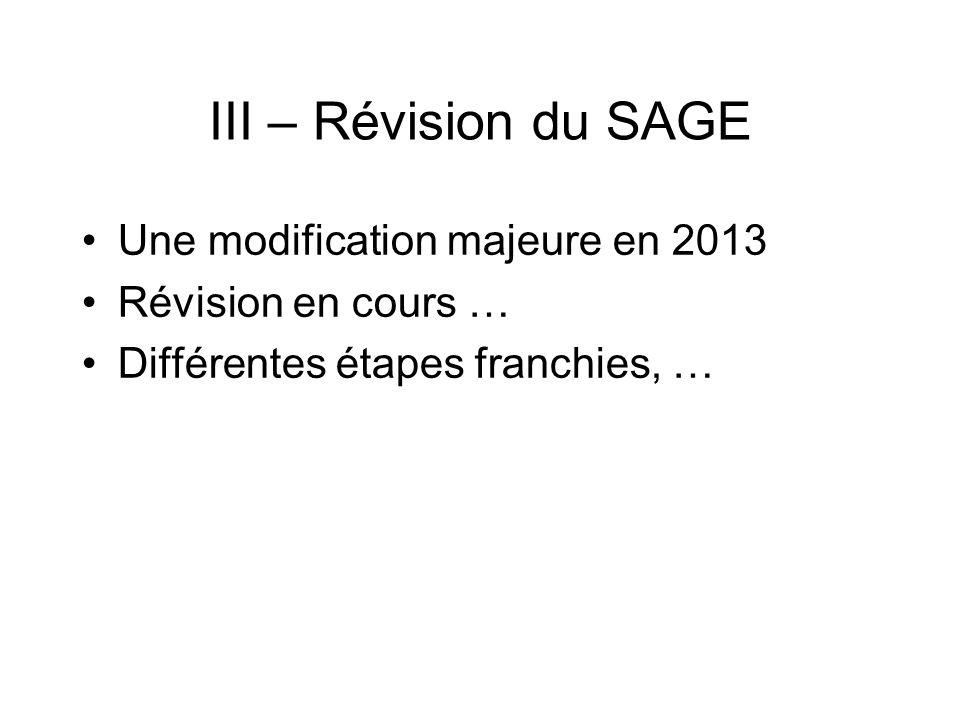 III – Révision du SAGE Une modification majeure en 2013