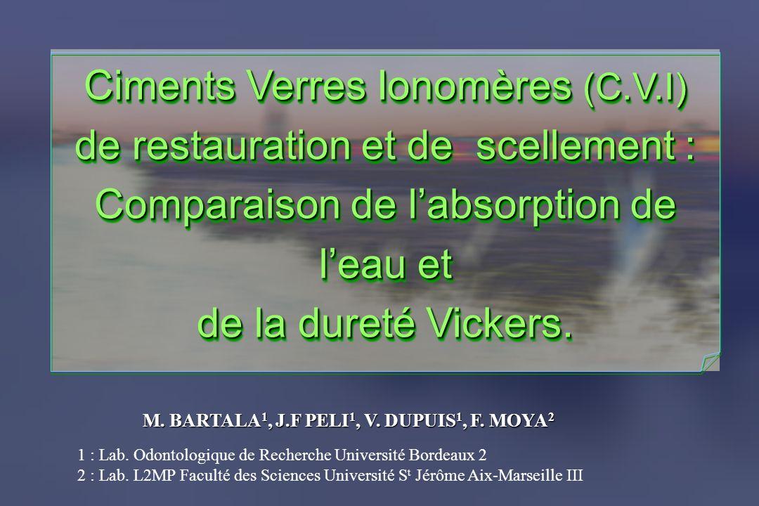 Ciments Verres Ionomères (C.V.I) de restauration et de scellement :