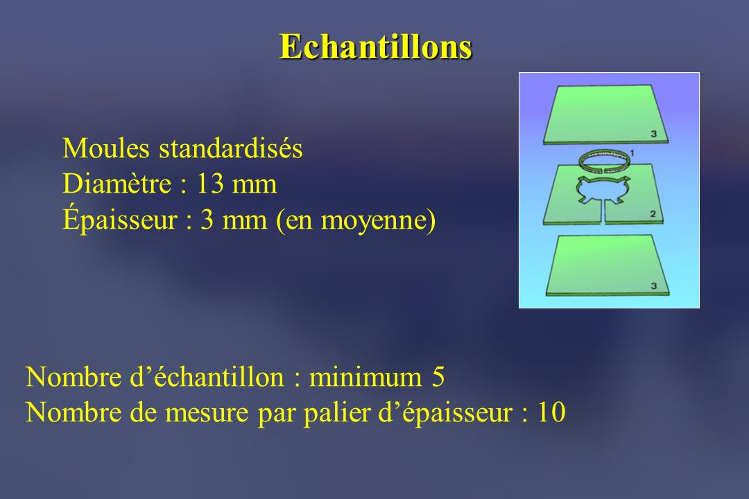Echantillons Moules standardisés Diamètre : 13 mm