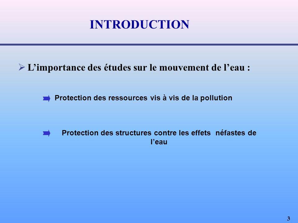 INTRODUCTION L'importance des études sur le mouvement de l'eau :