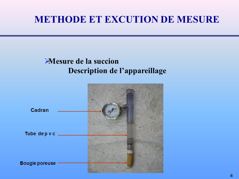 METHODE ET EXCUTION DE MESURE