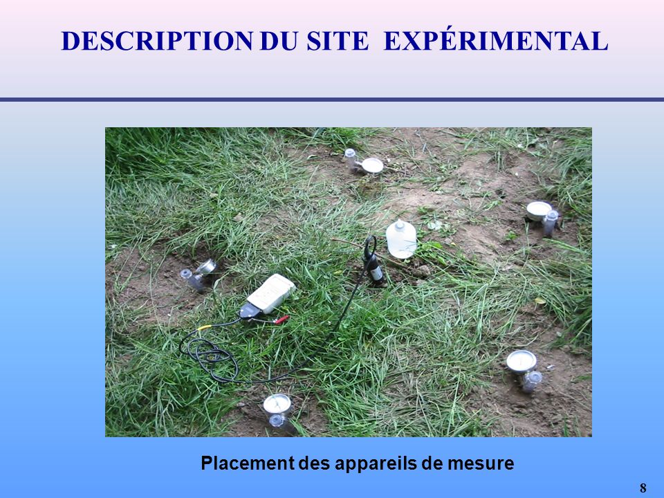 DESCRIPTION DU SITE EXPÉRIMENTAL Placement des appareils de mesure