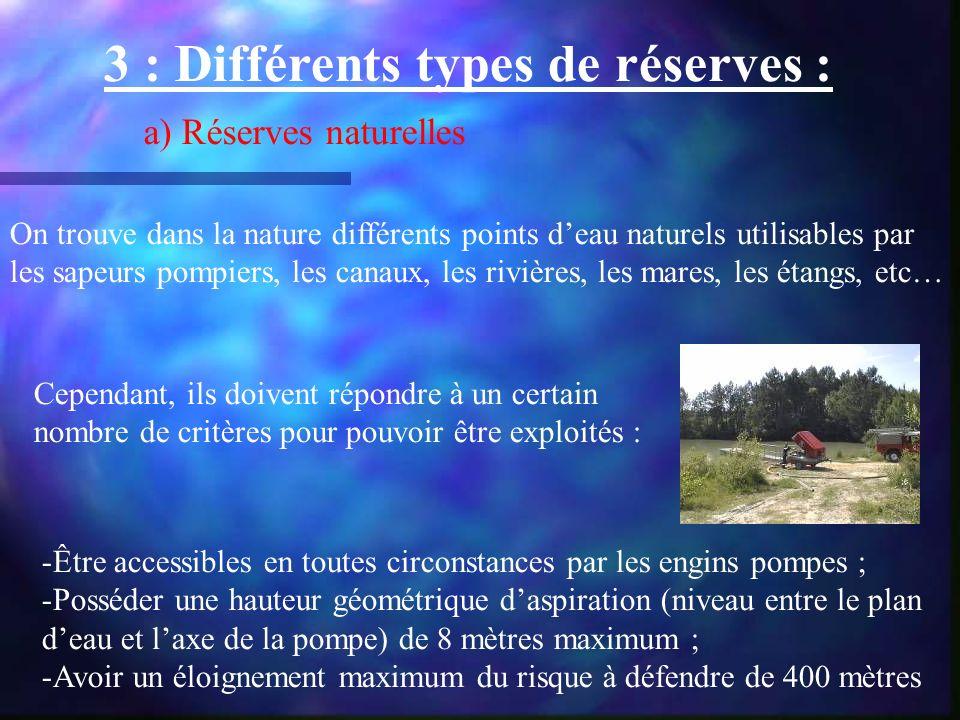 3 : Différents types de réserves :