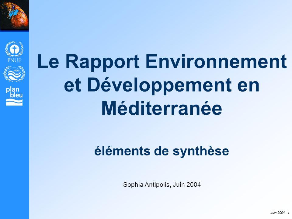 Le Rapport Environnement et Développement en Méditerranée éléments de synthèse
