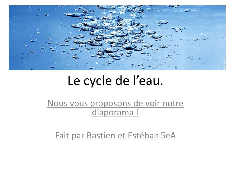 Le cycle de l'eau. Nous vous proposons de voir notre diaporama !