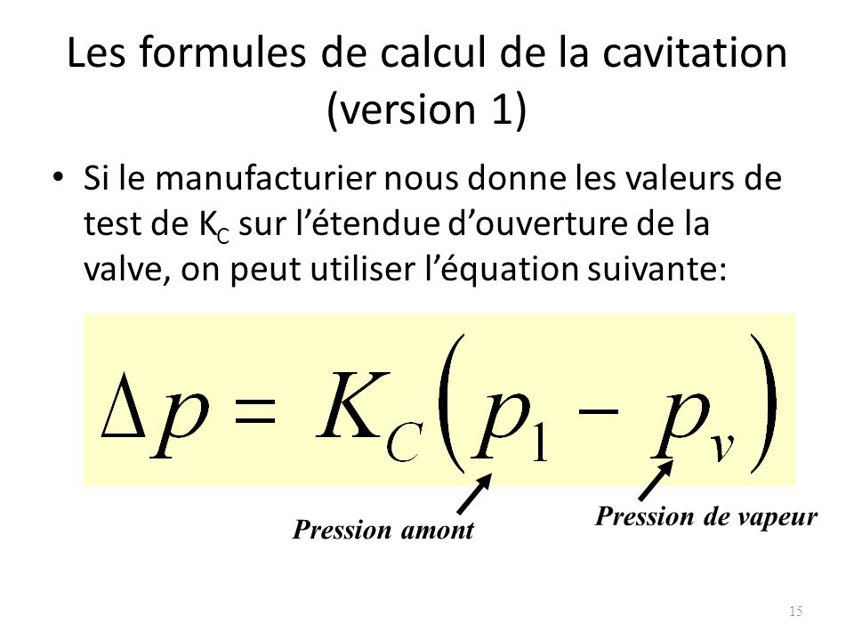 Les formules de calcul de la cavitation (version 1)