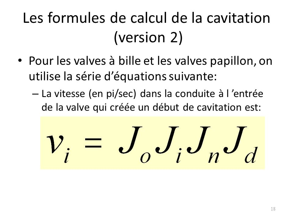 Les formules de calcul de la cavitation (version 2)