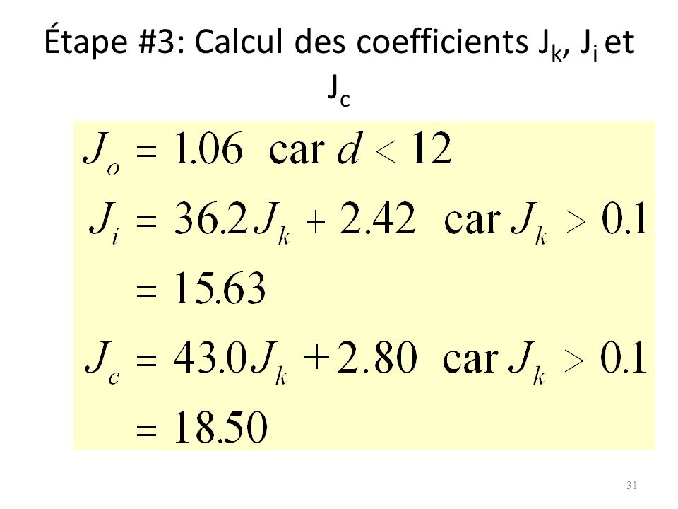 Étape #3: Calcul des coefficients Jk, Ji et Jc